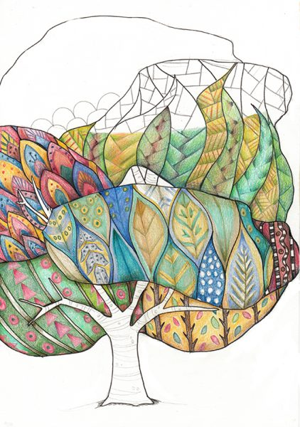 Calm Doodling - Big Tree Coloured copy