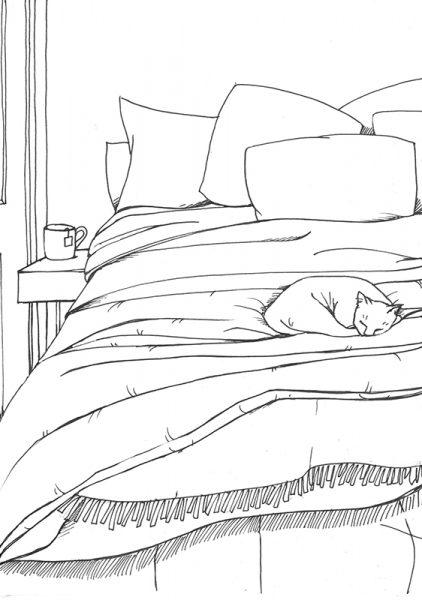 Calm Doodling - cat on bed copy